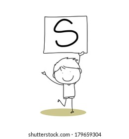 hand drawing cartoon character happiness alphabet