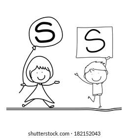 hand drawing cartoon character happiness alphabet S