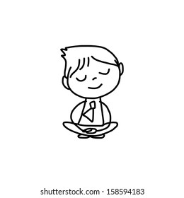 hand drawing cartoon character happy business person meditation