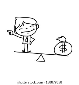 hand drawing cartoon character happy business person