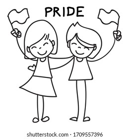 Hand drawing cartoon character happy girl. Girl power, girlfriends, couple, women raising banner celebrate Pride day. Abstract people line art vector.