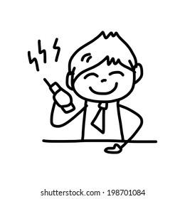 hand drawing cartoon character happy businessman