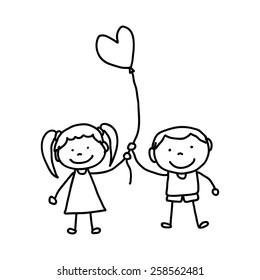 hand drawing cartoon character happy kids illustration