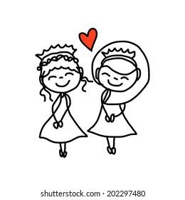 hand drawing cartoon concept happy same sex couple wedding