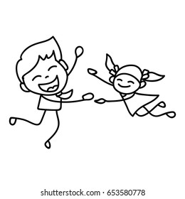 Hand drawing cartoon concept Happy Fathers Day. Vector illustration of father dancing with daughter.