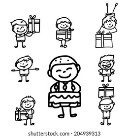 hand drawing cartoon happy birthday