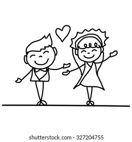 hand drawing cartoon happy couple wedding vector illustration