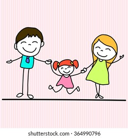 hand drawing cartoon happy family vector illustration