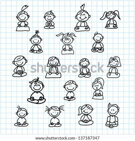 hand drawing cartoon happy people meditation stock vector royalty