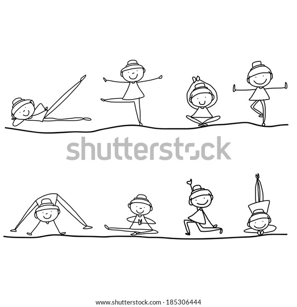 Hand Drawing Cartoon Happy People Yoga Stock Vector Royalty Free 185306444