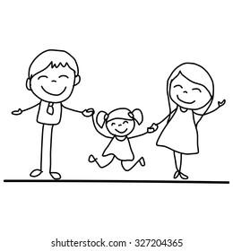 hand drawing cartoon happy young family vector illustation