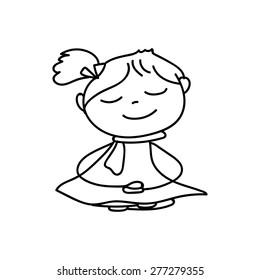 hand drawing cartoon meditation children vector