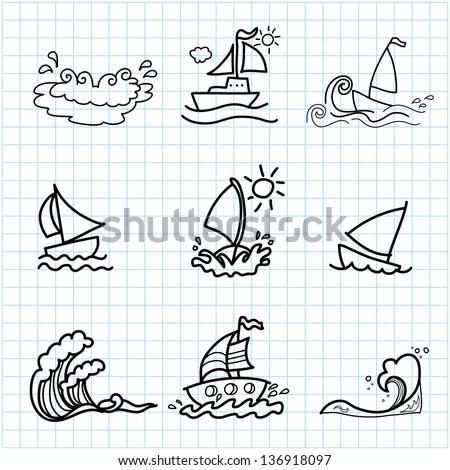 hand drawing cartoon on graph paper stock vector royalty free