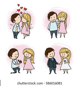 Hand drawing cartoon set of couple in love, wedding illustration, Vector color couple.