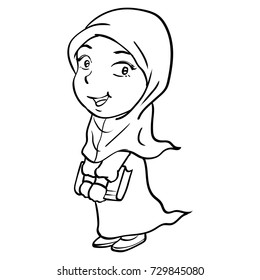 Hand drawing of Cartoon Smiley Muslim Girl Holding book, isolated on white background. Black and White simple line Vector Illustration for Coloring Book - Line Drawn Vector