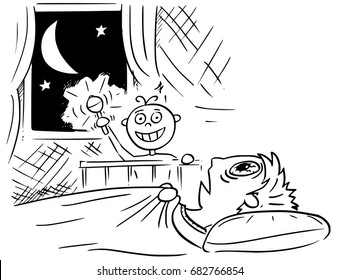 Hand drawing cartoon vector illustration of baby not sleeping and doing noise at night, and mother or father lying deadly tired in bed and not able to sleep.