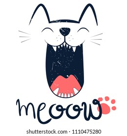 Hand drawing cat illustration vector. Print for textile, fabric, web, clothes, phone case, massage, t-shirt.