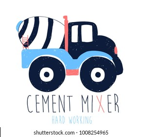 Hand drawing cement mixer illustration vector.
