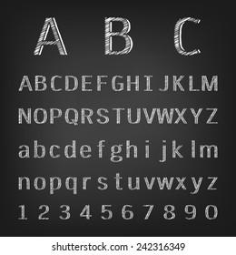 Hand drawing chalk alphabet