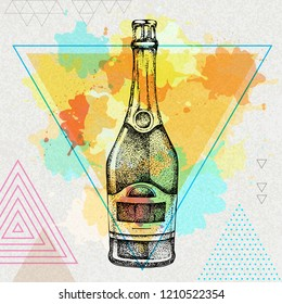 Hand drawing champagne bottle illustration on artistic polygon watercolor background