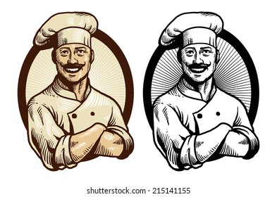 hand drawing chef with crossed arm pose