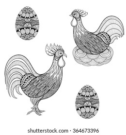 Hand drawing Chicken in nest, Cock, eggs for adult coloring pages, artistic domestic Birds in zentangle style, patterned illustartion isolated on white background. Vector monochrome bird sketch.