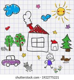 hand drawing children notebook sketch