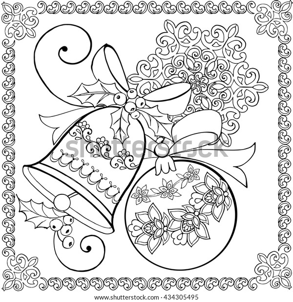 Hand Drawing Christmas Bell Christmas Ball Stock ...