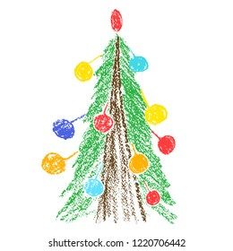Hand drawing christmas tree with balls. Like child's drawing crayon or pencil bright green fir-tree. Like kids drawing vector doodle funny colorful illustration.