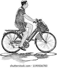 Hand drawing of a city dweller biking
