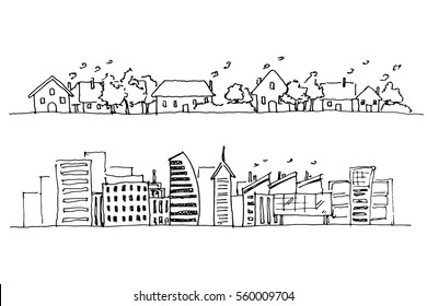 Hand Drawing of City. Rural and Urban Area.