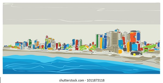 Hand drawing city sketch. Tel Aviv.