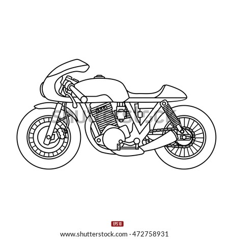 Hand Drawing Classic Cafe Racer Motor Stock Vector Royalty Free