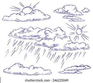 hand drawing clouds, sky, sun, rain on a white background