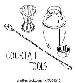 HAND DRAWING COCKTAIL TOOLS VECTOR SET