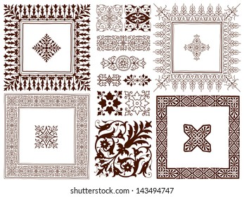 Hand drawing collection of different ornate decorative calligraphic design elements of classical symmetrical vintage filigree ornament designs