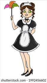 Hand drawing color line girl cleaning lady, maid, very beautiful doll. Suitable for tattoo, cover, print, poster, postcard. Vector. Isolated from background