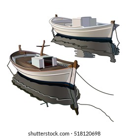 Hand drawing colored fishing boats, vector illustration