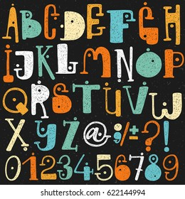 Hand drawing Colorful cartoon grunge style Alphabet. Letters and numbers set vector.