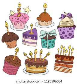 Hand drawing colorful set with sketches of birthday desserts, sweets, baking on white background, vector illustration