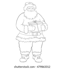 Hand drawing for coloring book, Santa Claus page. Grandfather with gift box in hands on a Christmas holiday.