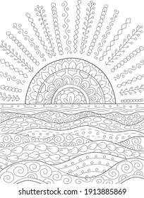 Hand drawing coloring page for kids and adults. Wild nature, sun,  meadow, field, sea. Beautiful drawing with patterns and small details. Coloring book pictures. Vector - Shutterstock ID 1913885869