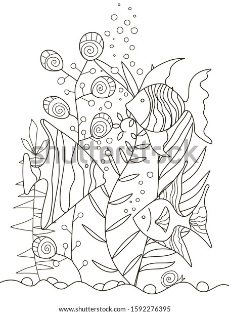 Hand Drawing Coloring Pages Children Adults Stock Vector (Royalty Free)  1592276395