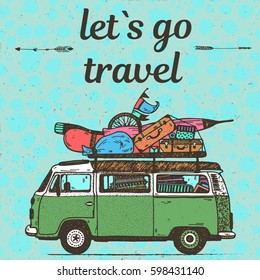Hand drawing conceptual funny illustration Let`s go travel art calligraphic text with green vintage mini van and luggage