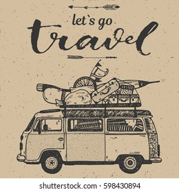 Hand drawing conceptual graphic illustration Let`s go travel art calligraphic text with vintage mini van and luggage