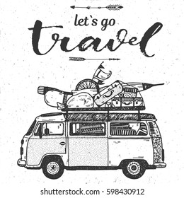 Hand drawing conceptual illustration Let`s go travel art calligraphic text with vintage mini van and luggage