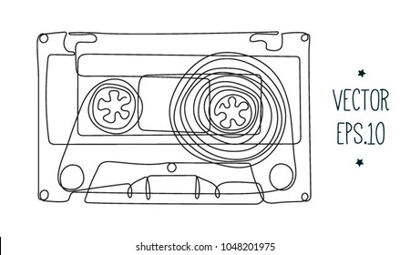hand drawing continuous line drawing of audio cassette. vector illustration