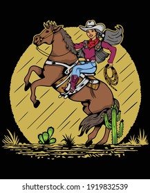 Hand Drawing Cowgirl T-Shirt Design For Horse Lovers