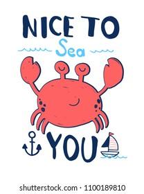 Hand drawing crab illustration vector.