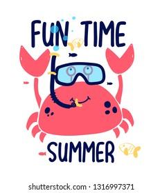Hand drawing crab and summer illustration vector.